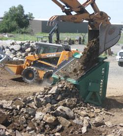 Rock screeners topsoil rock dirt screeners by omh for Topsoil screener